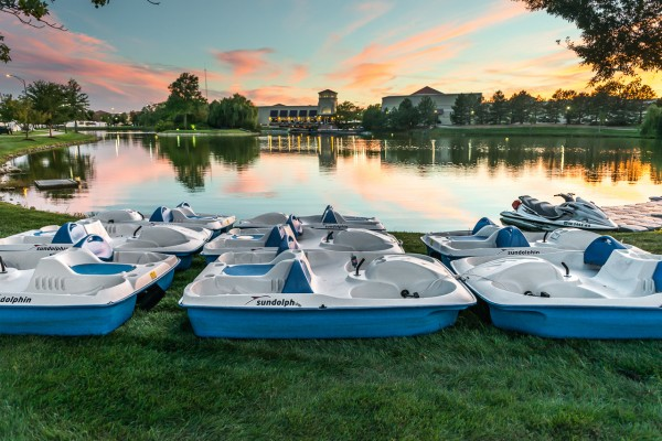 The boats sleep with a great view of the lake